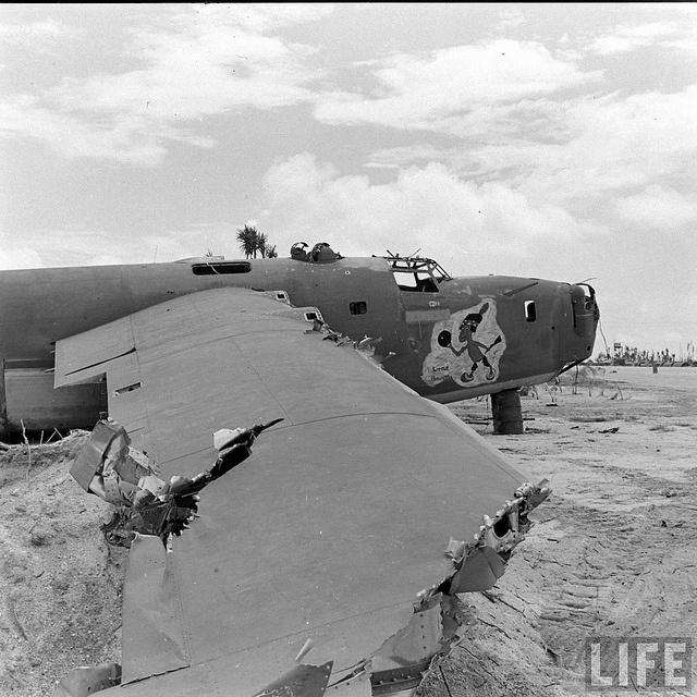 "Consolidated B-24 Liberator ""Little Hiawatha"" B-24D-20-CO Liberator, s/n 41-24187, 431st BS, 11th BG, 7th AF in the boneyard on Tarawa - May 1944"