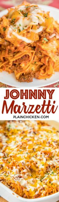 Johnny Marzetti Casserole Recipe - classic pasta casserole that will please the entire family! Ground beef, onions, tomato soup, tomato sauce, tomato paste, egg noodles, cheddar cheese and mozzarella. Can make ahead and refrigerate or freeze for later! A