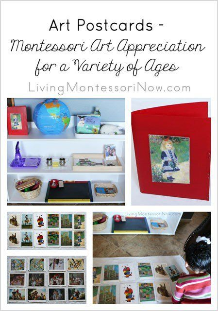 Art postcards can be used as a fabulous Montessori curriculum for art appreciation. They work well at home or in the classroom and for a variety of ages.