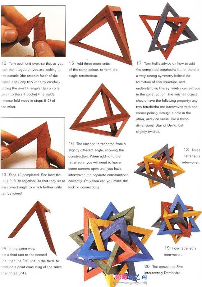 origami tetrahedron 5 Ruimtelijk inzicht, motoriek