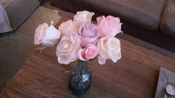 Table bouquet crepe paper flowers pastel colours by moniaflowers