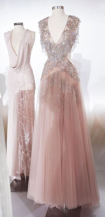 Vintage dusty pink gown. Loving the beading and that soft-fall back. Glamorous at the front and sexy in the back.