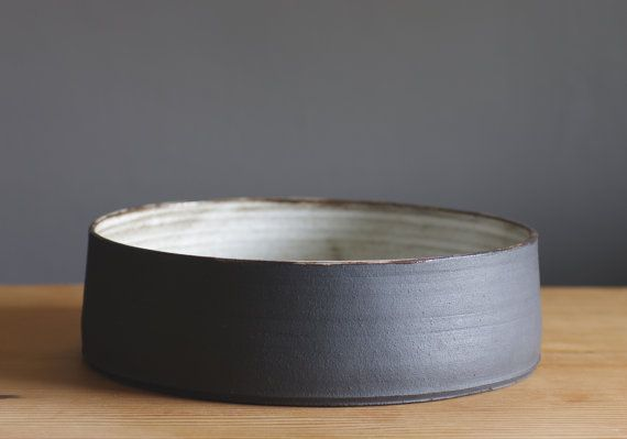 extra large bowl. fruit bowl made of black clay with white glaze, modern pottery minimal ceramic