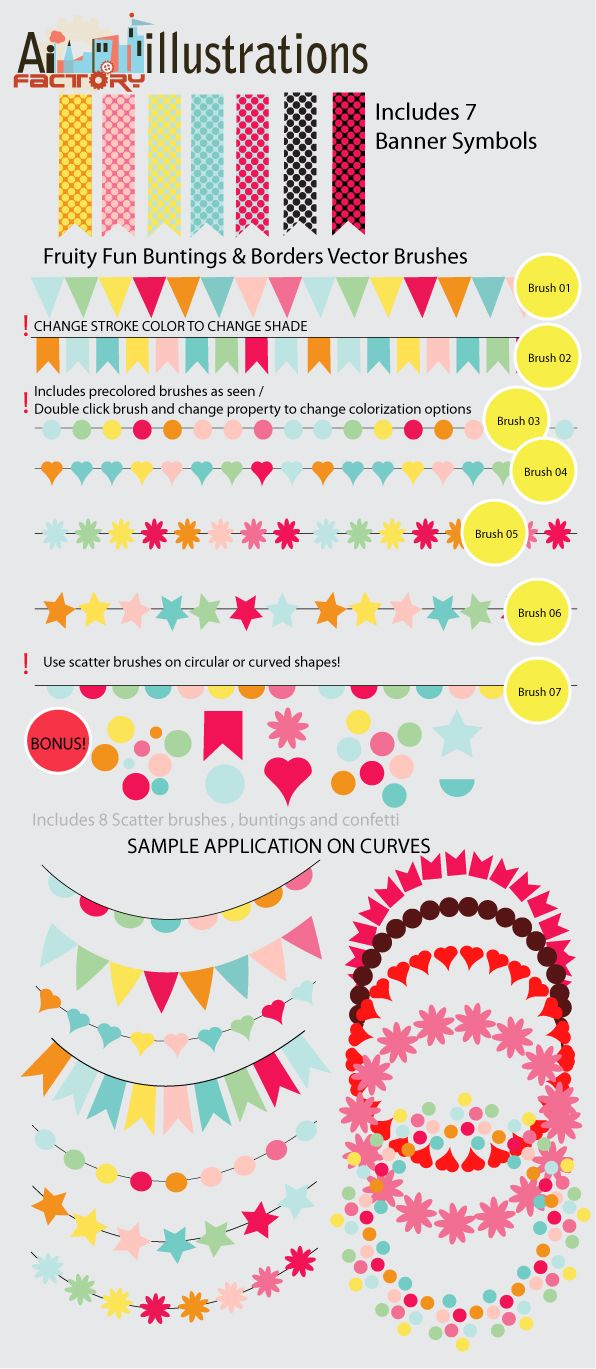 7 Confetti Buntings Vector brushes for illustrator . Wanting to create a party invitation with fun colorful Buntings and Confetti , i came up with this full vector brushes set . These are idea to…