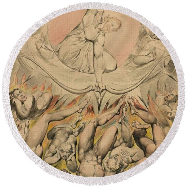 The Round Beach Towel featuring the painting The Casting Of The Rebel Angels Into Hell 1808 by Blake William