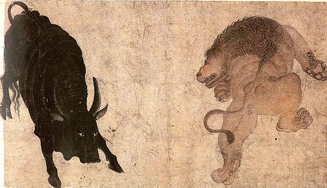 Lion and Bull about to engage in Combat 1, siyah qalam | Flickr - Photo Sharing!