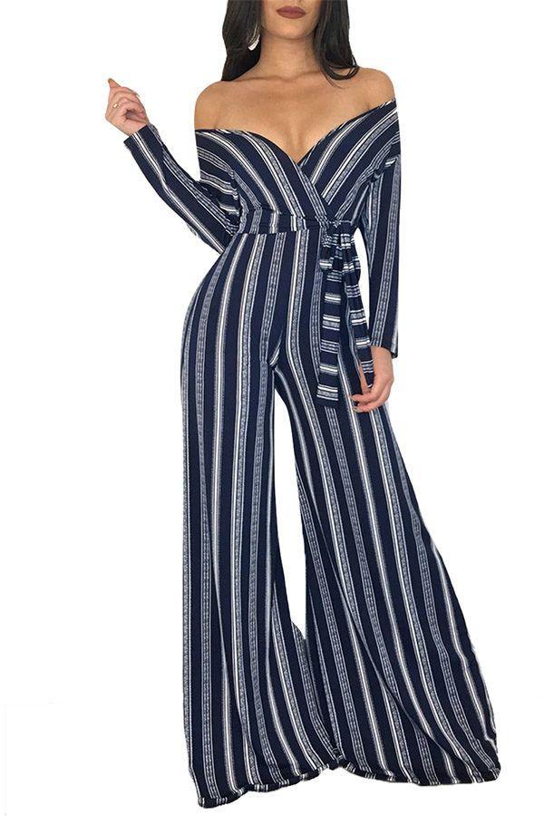 62a659b2503 Hualong Wide Leg Long Sleeve Off The Shoulder Jumpsuit  jumpsuits  women   fashion  blog