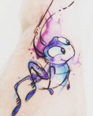 Mulan Lucky Cricket watercolor tattoo