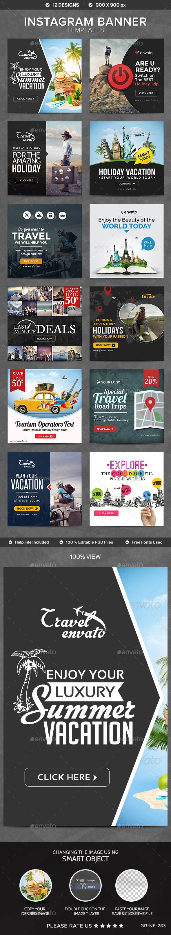 Instagram Banner Templates - 12 Designs - Banners & Ads Web Template PSD. Download here: http://graphicriver.net/item/instagram-banner-templates-12-designs/10813905?s_rank=1770&ref=yinkira