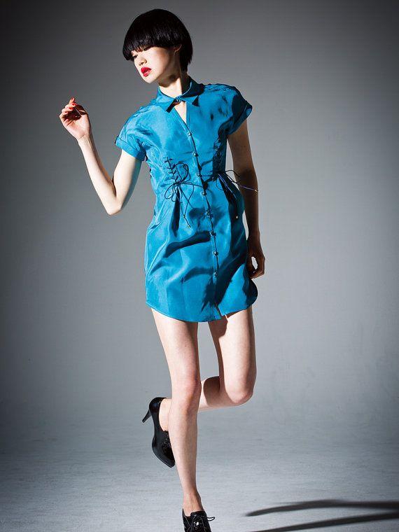 Silk taffeta Shirt dress  Royal blue //  cocktail by DRESSbyEnlee