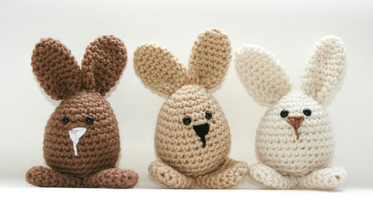 Bunny decor or toys, 3 Easter spring crochet amigurumi rabbits neutral brown, tan, beige Custom. $27.00, via Etsy.
