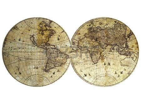 Archiwalne mapy świata na białym tle photo
