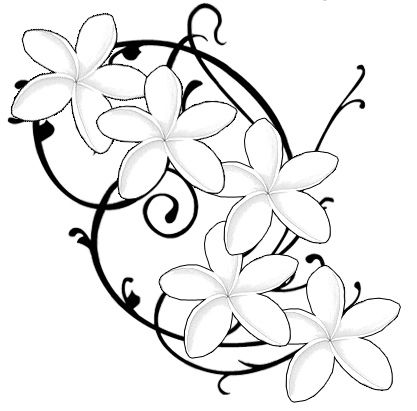Frangipani tattoo design would want some colour and incorporate the kids names somewhere in there.
