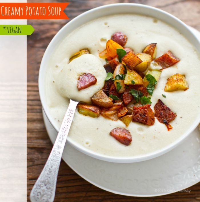 Creamy Baked Potato Soup. #Vegan - with a Secret Ingredient!