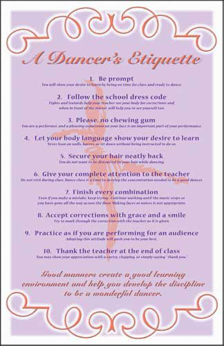 This poster on dance class etiquette is similar to some found in many studios- great to read if you're preparing for your first class.