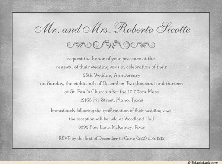 25th Wedding Anniversary Renewal Invitation Wording Examples