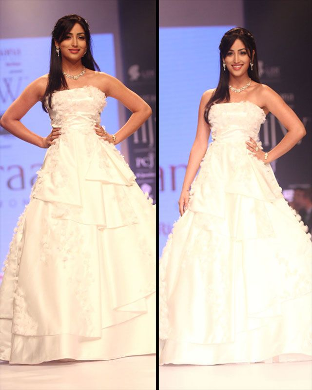 Yami Gautam looked stunning in a white gown sporting exquisite diamond jewellery.