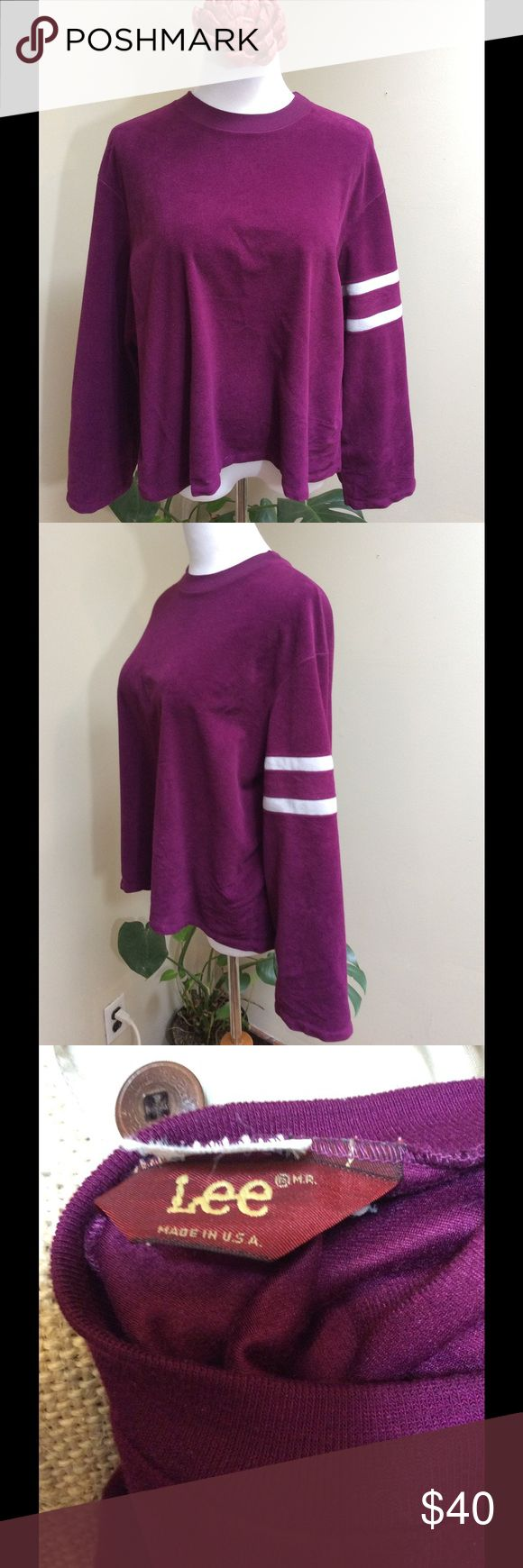 "70s 80s LEE VELOUR Maroon Purple Sweatshirt Large Make this yours! Vintage Velour for Spring! Maroon / purple Lee Jeans Crew Neck Sweatshirt w/ Stripes on one sleeve. Shorter cropped look.Made in the USA.   The Measurements: Women's loose Large or tighter XL Chest: 48"" Length: 22"" Sleeves: 21"" Lee Tops Sweatshirts & Hoodies"