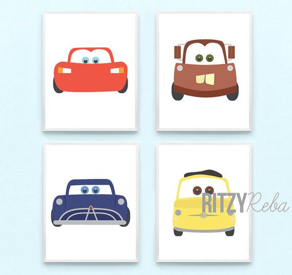 Disney Cars Nursery Boy Pixar Cars 2 Art Print Set of 4 - Tow Mater, Lightning McQueen, Doc Hudson, Guido