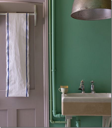 Farrow and Ball Arsenic! Love the different colour painted pipes.