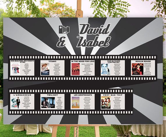 Your guests will easily find their place, while the chart will give as special and stylish touch to your wedding reception.  Choose the movies of your wedding! You can have any movie you like, just send us the JPG with the movies you like. This listing is for a DIGITAL FILE only. Buying it you will receive a PDF / JPG 300 DPI file that you can easily print at your local printer. But before we will personalize it for you.  The poster size depends on number of guests, but you can ask your...
