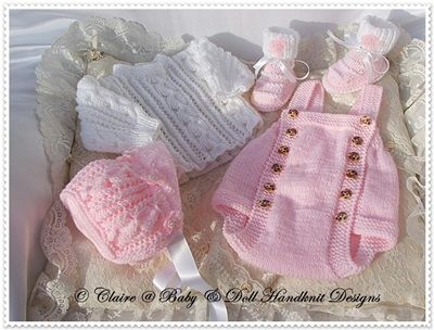 "Traditional Romper Set 16-22"" doll (preemie-3m+ baby)-romper, knitting pattern, reborn, babydoll, baby, doll"