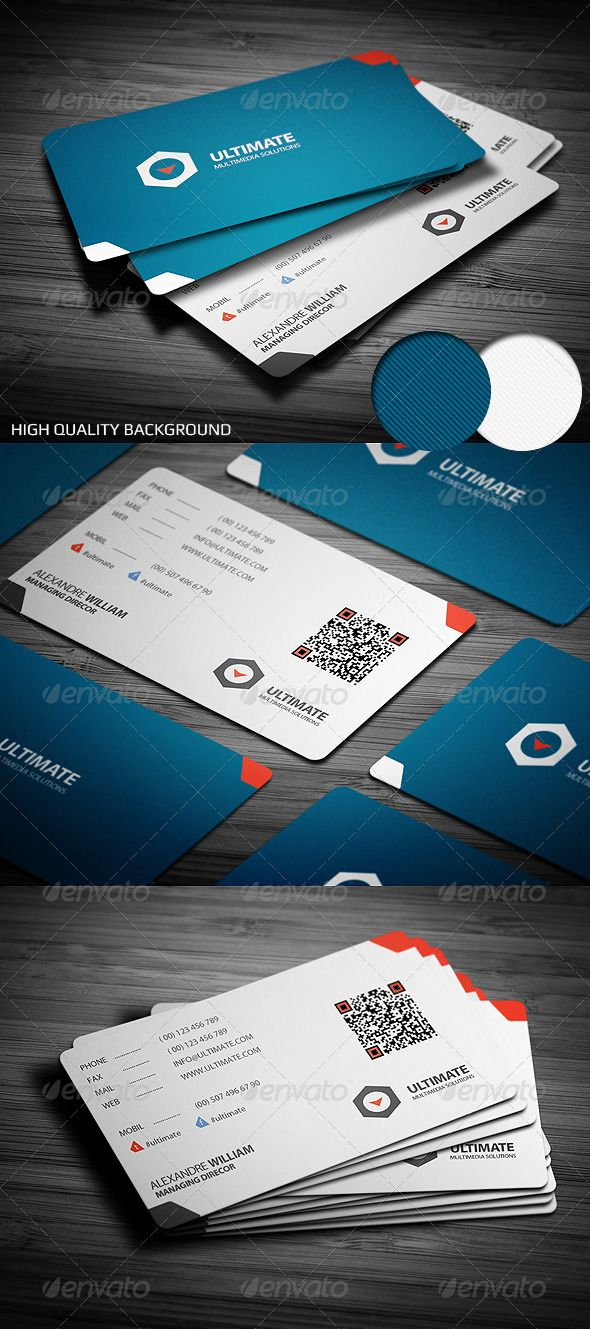 81 best 80 stunning qr code business cards images on pinterest clean and modern corporate business card template designed on unique blue and white layout with round corners and embedded qr code wajeb