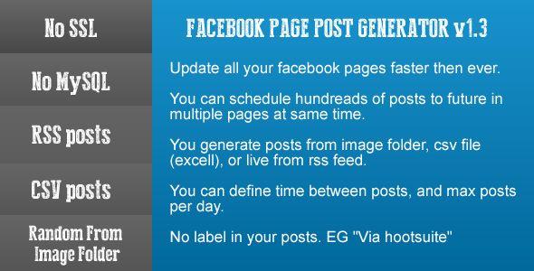 Facebook Page Post Generator