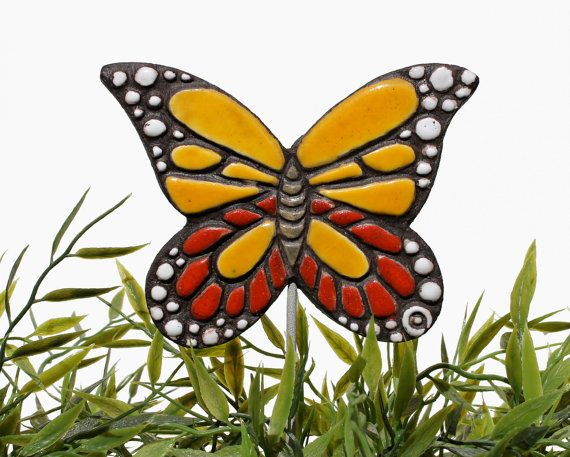 butterfly garden decor plant stake garden ornament red by GVEGA, €17.00