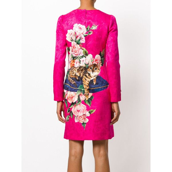 Dolce & Gabbana Zambia print dress (3,060 CAD) ❤ liked on Polyvore featuring dresses, pink long sleeve dress, long-sleeve floral dresses, flower print dresses, cat dresses and floral dresses