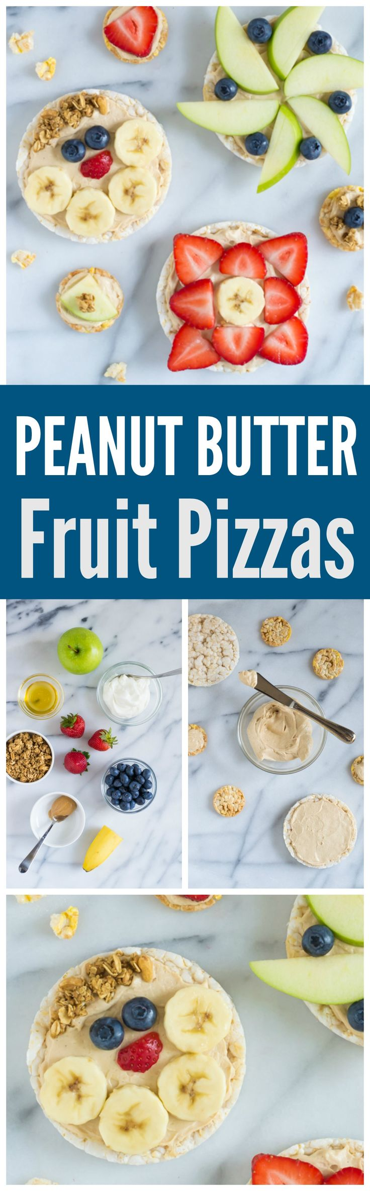 """Peanut Butter Healthy Fruit Pizzas. Kids LOVE these! Rice cakes spread with a creamy peanut butter yogurt """"sauce,"""" topped with fresh fruit. A perfect healthy snack for kids. Great for lunchboxes and healthy after school snacks too! Recipe at wellplated.com @wellplated #backtoschool #healthysnacks"""
