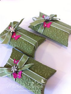 pillow-boxes SU Pillow box die cut, run through Big Shot in an embossing folder - seasonal words or event words - Ex.: Merry Christmas, Happy Birthday, Thank You,
