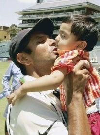 Rahul Dravid The Wall kissing his son