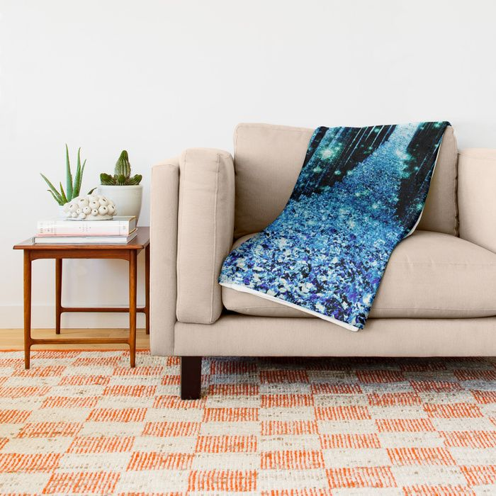 Magical Forest Teal Turquoise Throw Blanket