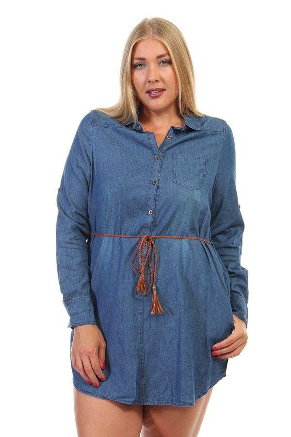 Curvy Denim Belted Tunic Dress – URBAN MAX LLC