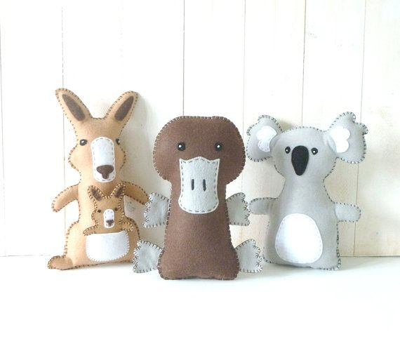 Australian Animal Softie PATTERNS // Sew by Hand Felt Plushies // Stuffed Kangaroo, Platypus, Koala Bear