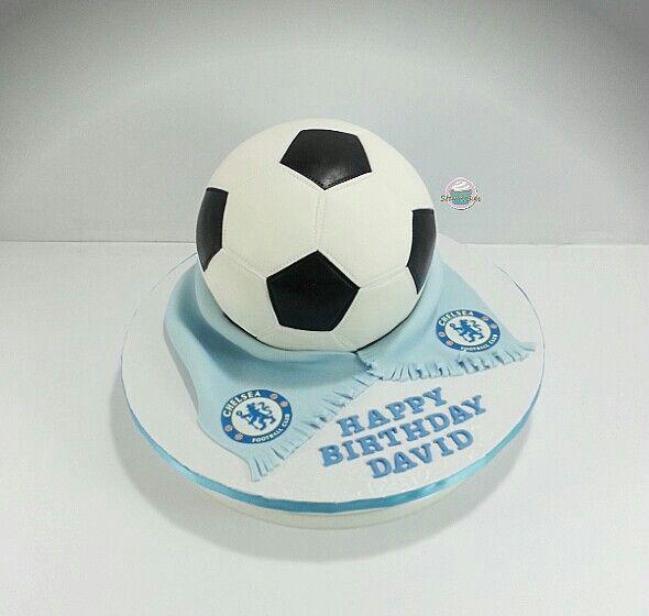 Chelsea team soccer ball cake by www.starrcakes.com