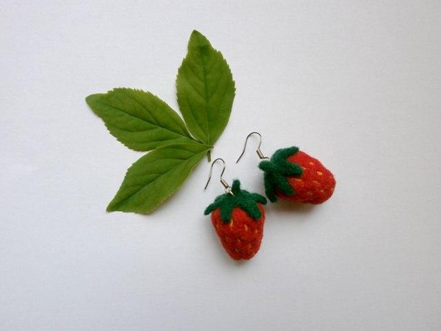 Needle Felted Strawberry Earrings