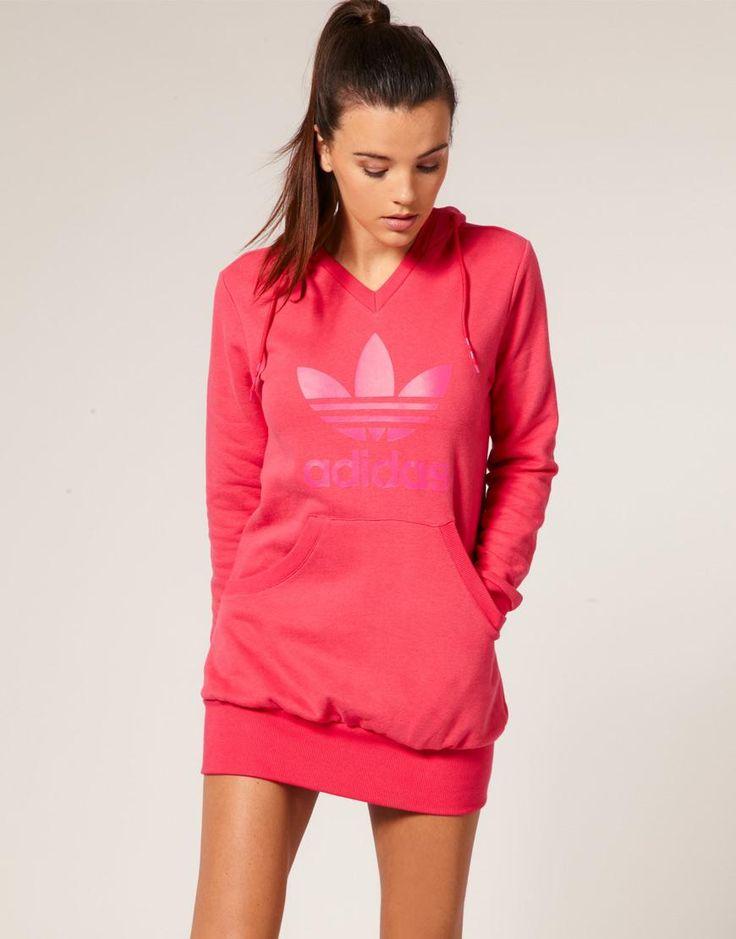 Adidas | Adidas Tonal Trefoil Fleece Hoodie Dress at ASOS