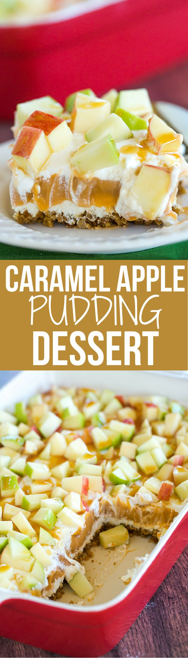 This caramel apple pudding has layers of caramel cheesecake filling, caramel pudding, a whipped cream topping, apples, and peanuts all on top of a gingersnap crust.