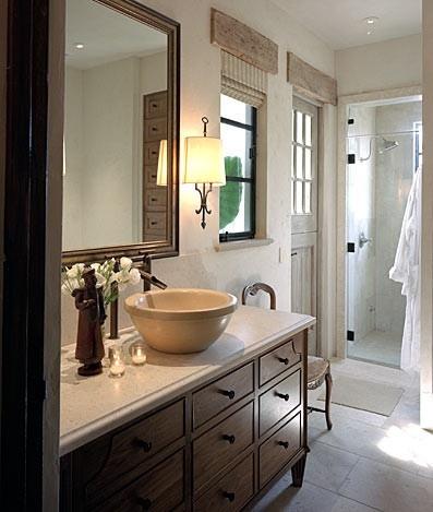 MARIANNE SIMON DESIGN | Seattle Interior Designer - BLOG  Fresh Bath- Love the bowl sink: Dark Vanities, Bowls Sinks, Small Bathroom, Simple Bathroom, Country Bathroom, Bath Remodel, Interiors Design, Bathroom Ideas, Bath Ideas