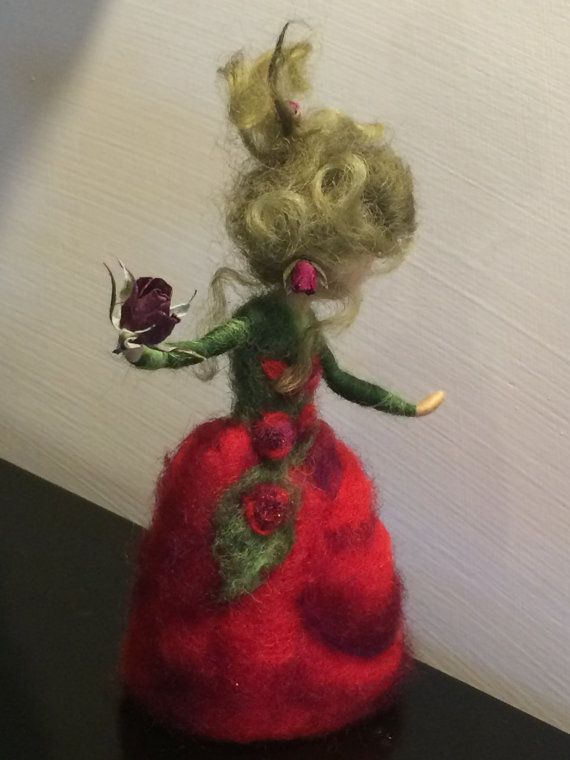 Needle felted Waldorf inspired Fairy Red Rose by DreamsLab3