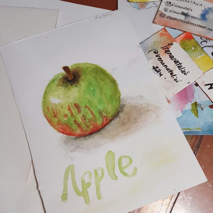 This is a #watercolour apple. #sketch #art #mixmedia #traditionalpainting