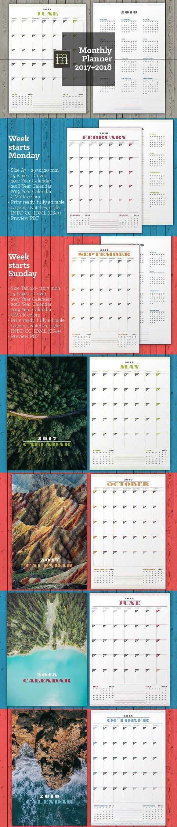 Monthly Planner 2017-2018 (MP11). Stationery Templates