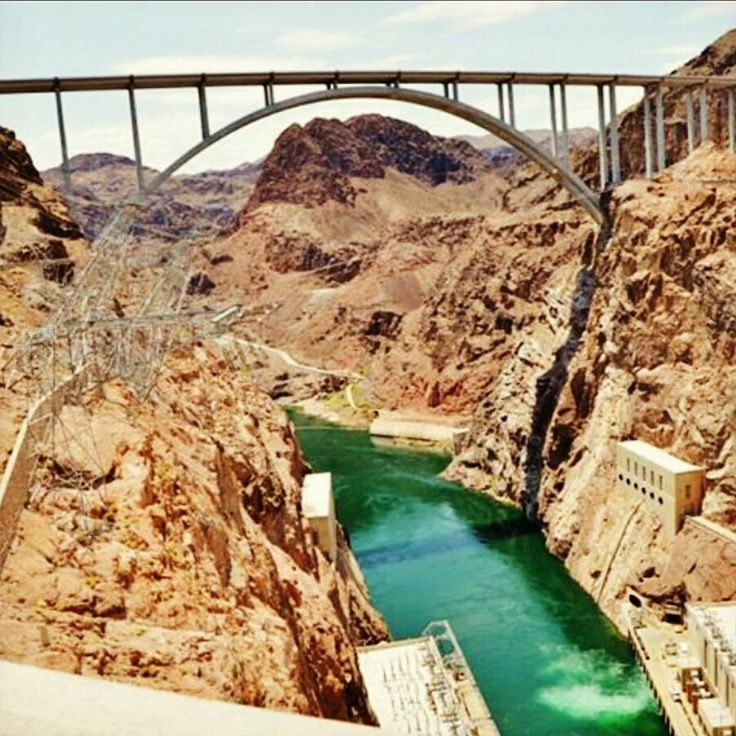 Hoover Dam bridge in Nevada/Arizona ... it's pretty spectacular, one step and you go from pacific time zone into mountain time zone.  It was an amazing experience.