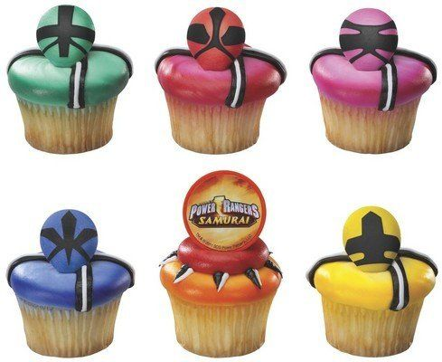 http://www.cupcakepins.com/12-ct-power-rangers-samurai-force-cupcake-rings/ From the Power Rangers Samurai Party Supply Collection. Power Rangers Samurai Force Cupcake Rings. Includes 12 kid sized rings in a random assortment of the designs shown. Recommended for ages 3 and up.