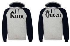 King Queen Hoodie Couple Hooded Sweatshirt Boyfriend,Girlfriend Hoodie in Clothing, Shoes & Accessories   eBay