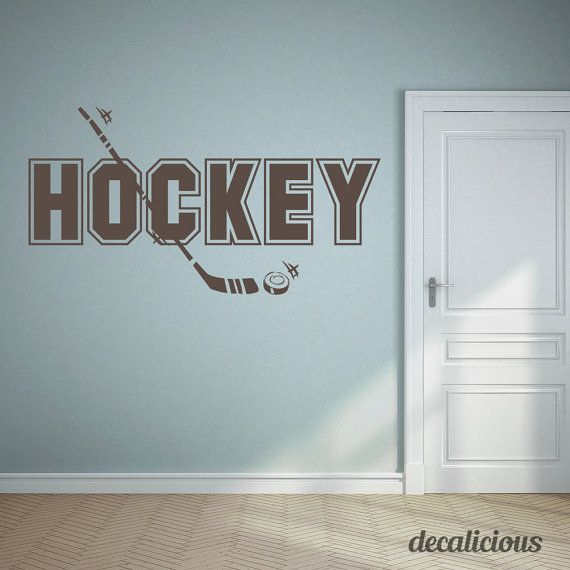 This Hockey wall decal is great for anyone in your family who loves the sport! Great for the kids room, man cave or where ever you want! Get creative. This premium wall decal comes as one piece for easy application. WHATS INCLUDED - Wall Decal - Test Decal - 1 FREE Squeegee Per Order   ---------------------------------------------------------------------------------------------- See more of our designs at https://www.etsy.com/shop/DecaliciousCom ---------------------------...