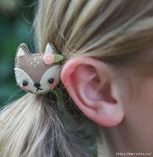 Фетровые зверюшки - аксессуары для волос маленькой девочки (3) (524x537, 147Kb)