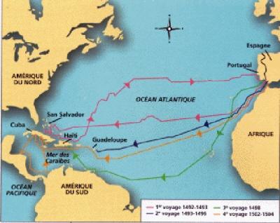 Les quatre voyages de Christophe Colomb 1er voyage : départ le 3 aout 1492 de Palos, arrivée le 12 octobre à Guanahani, soit 71 jours, avec une escale aux Canaries, du 9 août au 6 septembre Christophe Colomb eut toujours la conviction de trouver la route des Indes par l'Ouest.